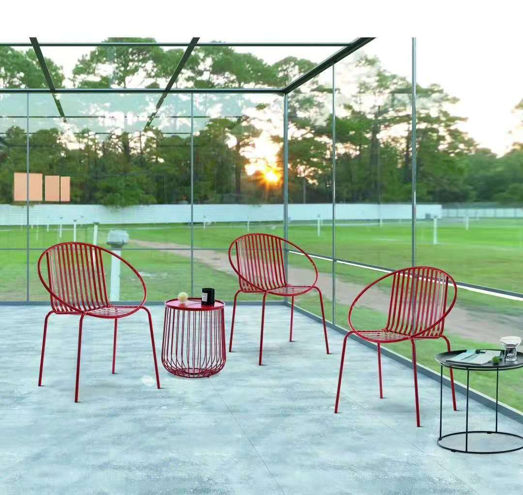 Commercial standard garden metal wire patio chair and patio table